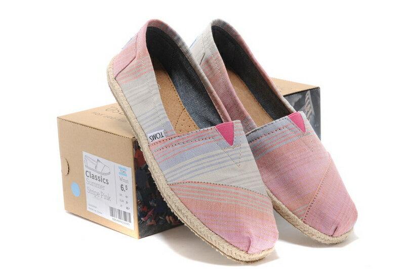 [女款] 國外代購TOMS 帆布鞋/懶人鞋/休閒鞋/至尊鞋 亞麻系列  亞麻底彩條粉 0