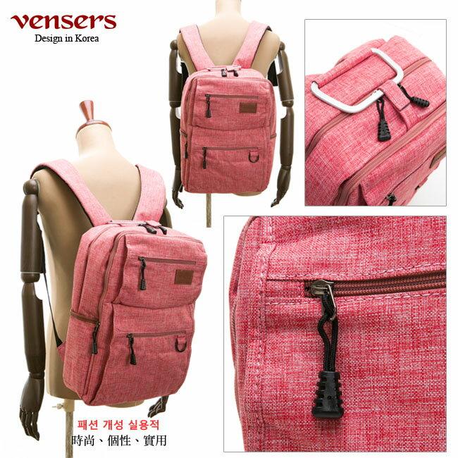 【vensers】 簡約丹寧牛仔後背包 (R00066104粉色) 3