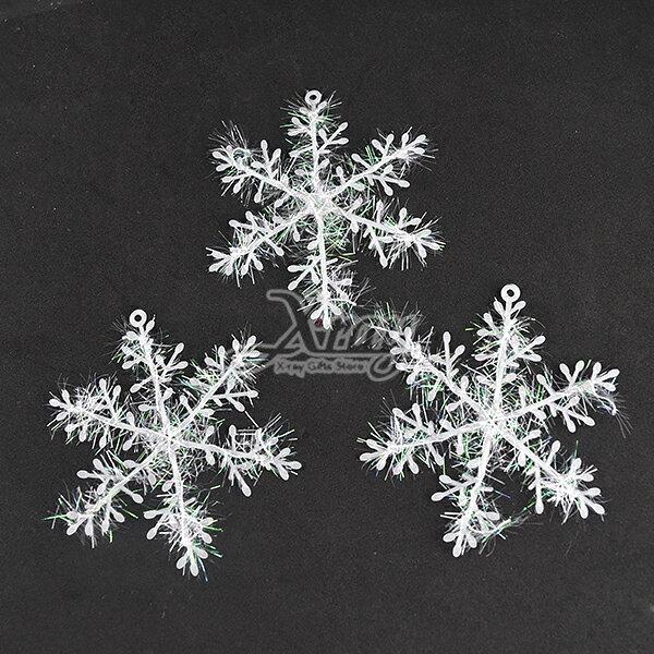 X射線【X297618】11cm亮絲雪花3入,聖誕/聖誕節/壁貼/材料包/聖誕佈置/DIY材料/裝飾/吊飾/交換禮物