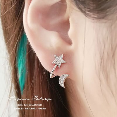 韓系飾品 U型可愛五角星星月亮耳釘耳環耳夾韓版耳飾(一對) 3色【OE-0408】LYNNSHOP