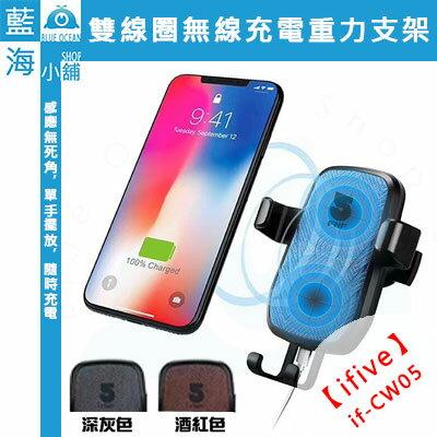 ifive五元素CW05雙線圈無線充電重力車用手機支架(手機架手機座快速充電出風口車架)