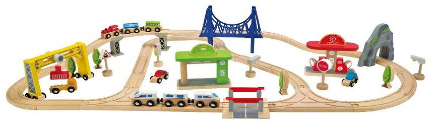 【淘氣寶寶】德國【Hape愛傑卡】城市列車組合