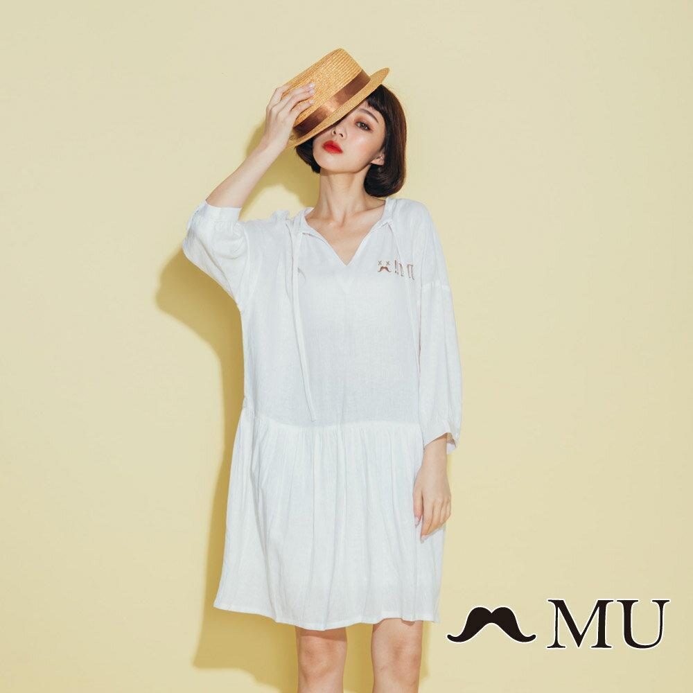 【MU】領口綁繩娃娃寬鬆休閒洋裝(2色)8313263 3