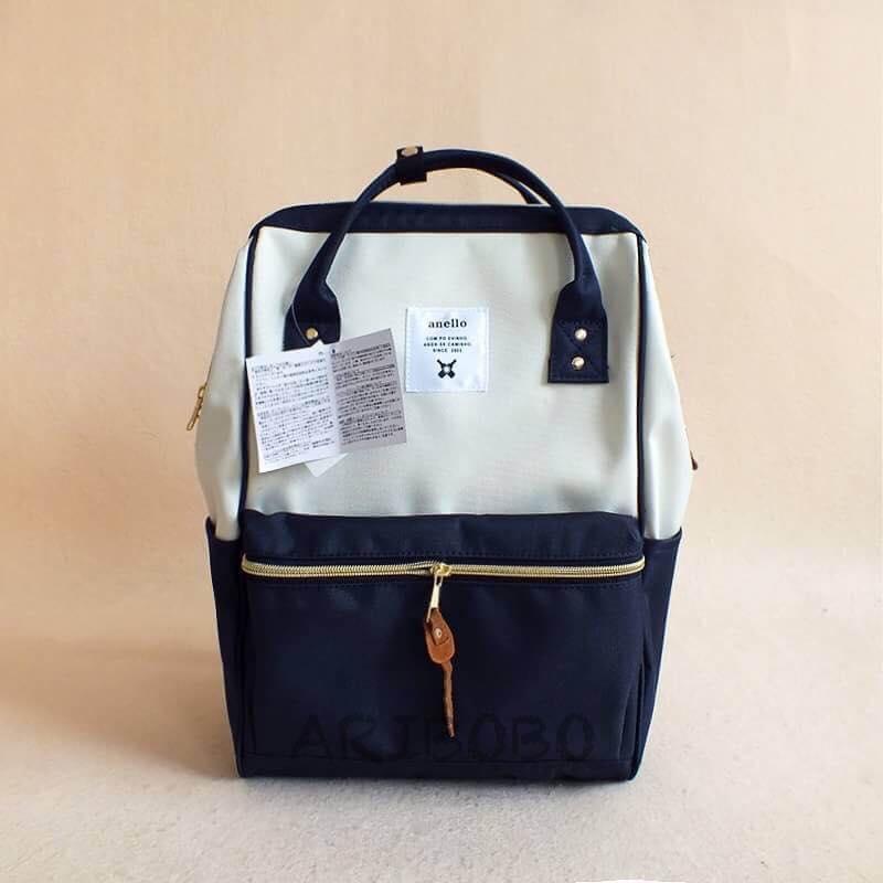 【日本anello】ANELLO 雙肩後背包 《大號》-深藍白