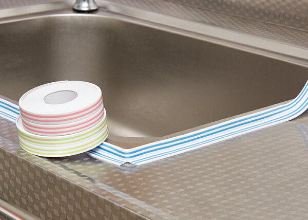 Mycolor:♚MYCOLOR♚條紋窄版隙縫防霉貼廚房衛浴防潮膠帶可剪裁黏膠水槽台面排水口【L10-2】