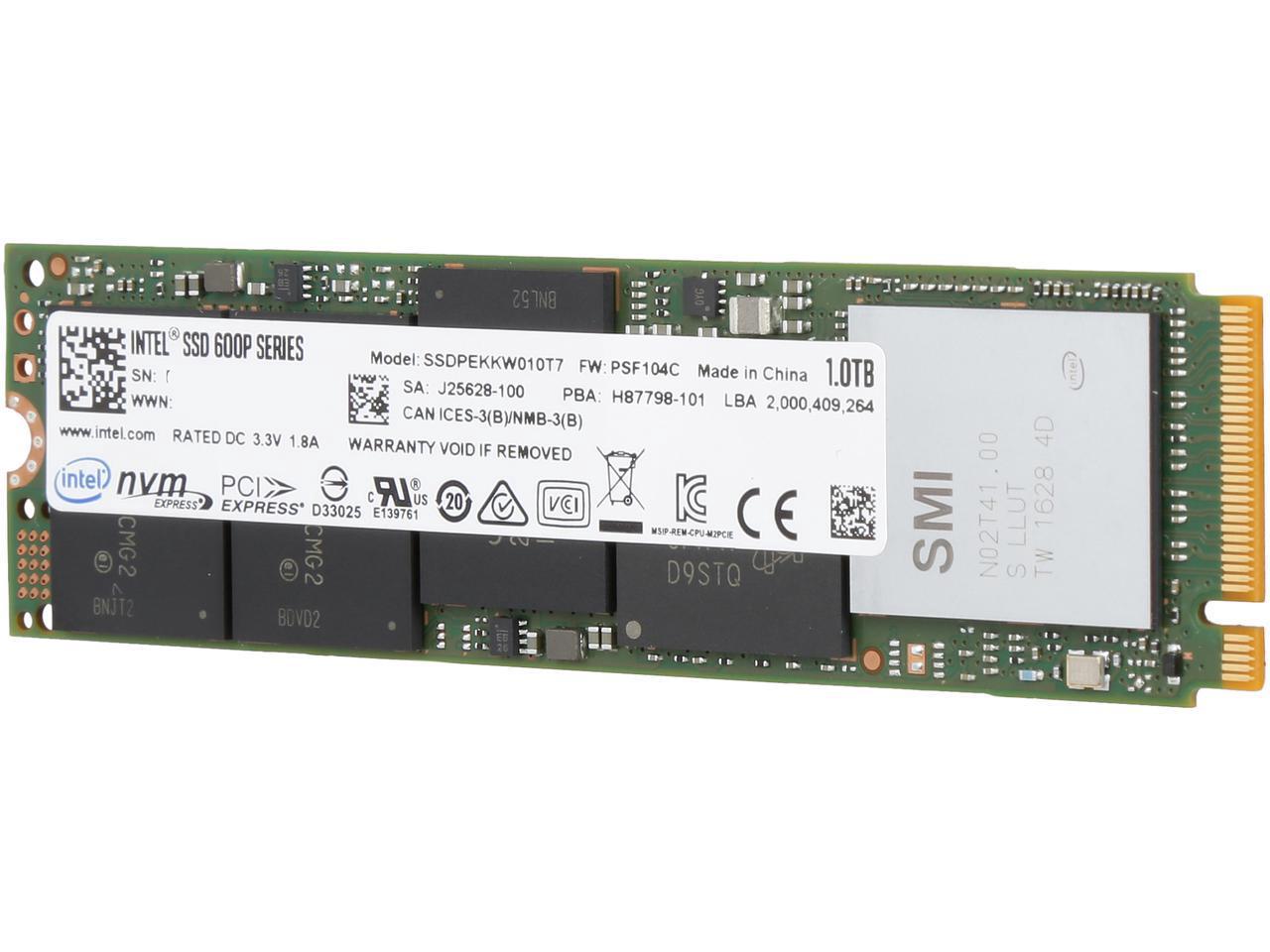Intel SSD 600p Series 1TB 1T M.2 2280 80mm NVMe PCIe Gen3 x4 PCI-Express 3.0 x4 3D NAND 3D1 TLC Internal Solid State Drive SSDPEKKW010T7X1
