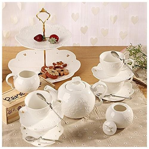 Porcelain Tea Cup and Saucer Coffee Cup Set with Saucer, Spoon, Sugar, Creamer 16 PC 9f0b24980024ba6a18644959fdc166e1