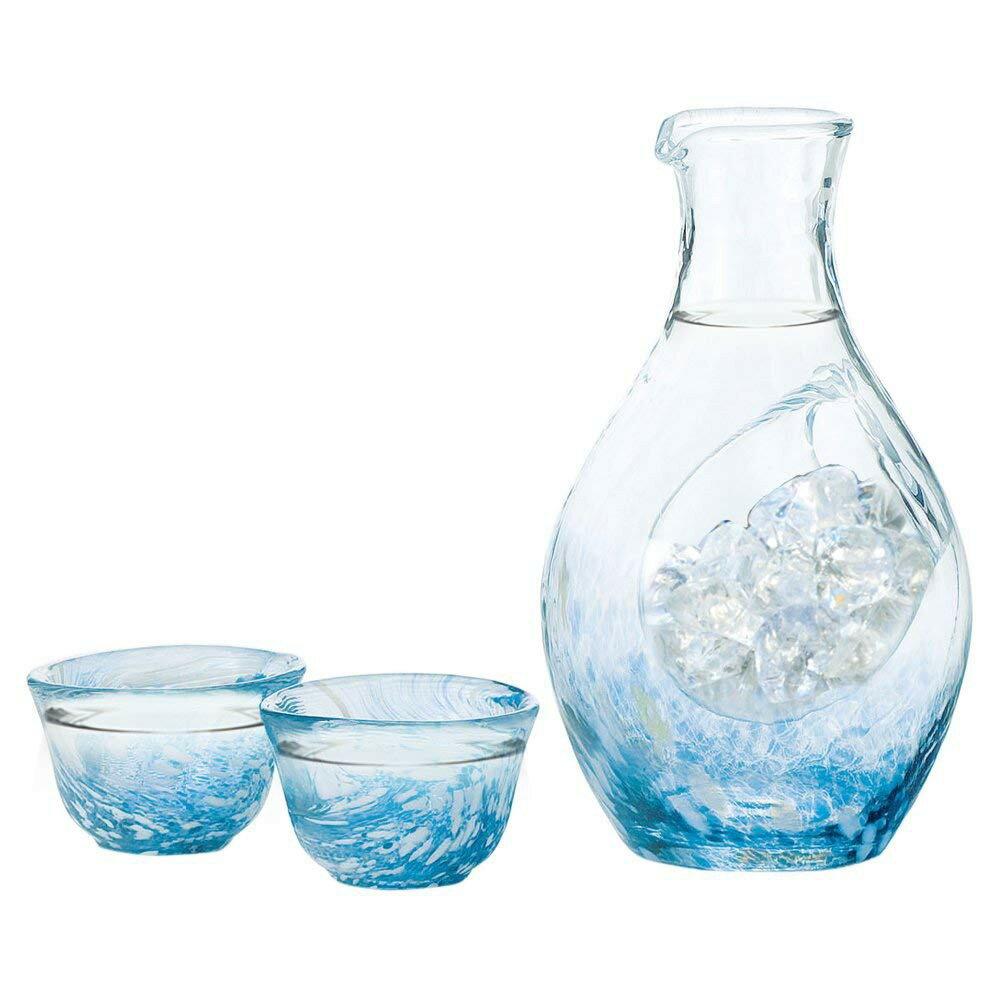 現貨 東洋佐々木玻璃 『藍』手工日本酒杯 日本製造 冷酒用 日本酒杯+酒壺組 300ml+80mlx2 玻璃 日本進口【星野生活王】