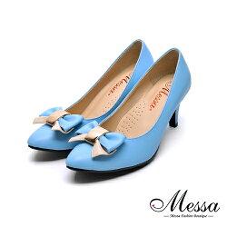 【Messa米莎專櫃女鞋】MIT蝴蝶綁帶女孩內真皮高跟鞋-藍色
