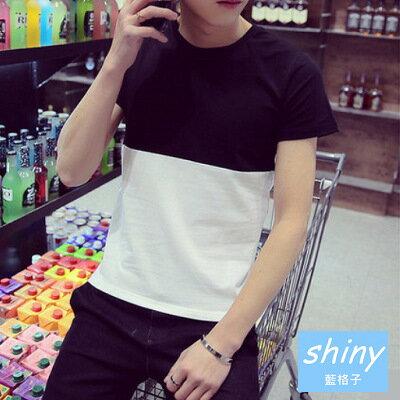 【Y037】shiny藍格子-黑白時尚.熱銷日系修身撞色拼接潮男圓領短袖T恤