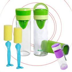 EG Home 玻璃檸檬杯/泡茶/果乾水杯_二入組(500ml)(附杯套、清潔刷)