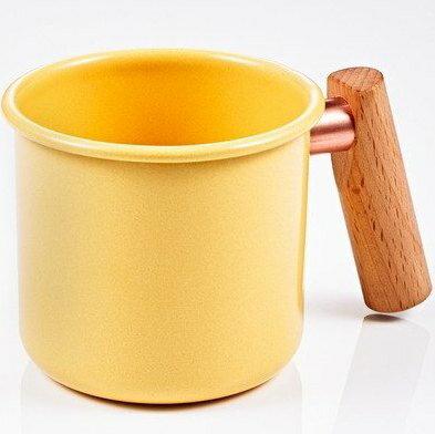 [ Truvii ] 木柄琺瑯杯/木頭琺瑯杯/琺瑯咖啡杯/日系雜貨風馬克杯 400ml奶油黃