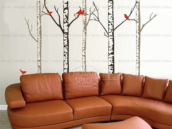 BO雜貨:BO雜貨【YV2878】可移動時尚組合壁貼牆貼壁貼紙創意璧貼樹鳥與樺林