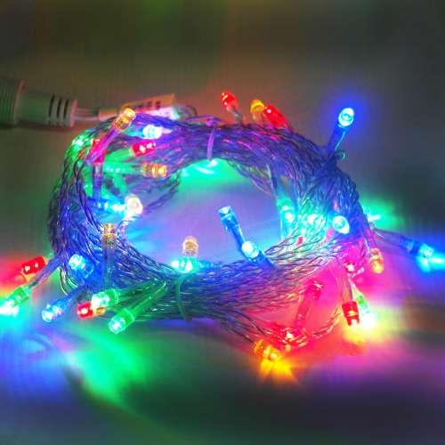 聖誕燈50燈LED樹燈串 (四彩光透明線)(附控制器跳機)(高亮度又省電)YS-XLP050001