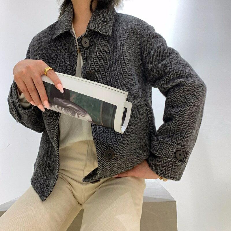 毛呢大衣羊毛外套-短版單排扣簡約人字紋女外套2色73wb27【獨家進口】【米蘭精品】 1
