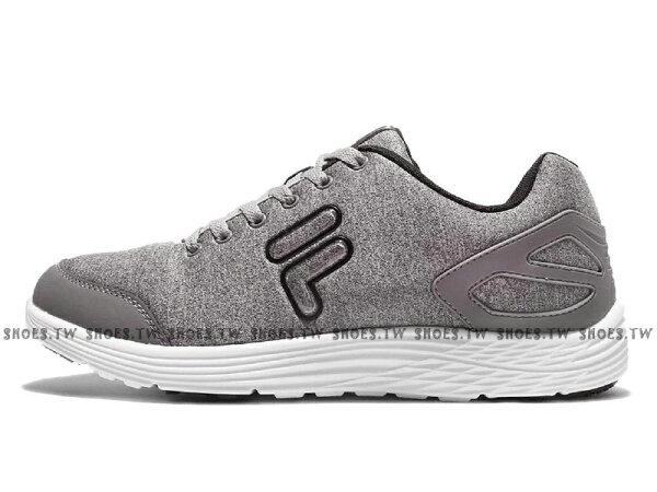 《限時特價990元》Shoestw【1J907Q440】FILA慢跑訓練鞋灰白棉布男款