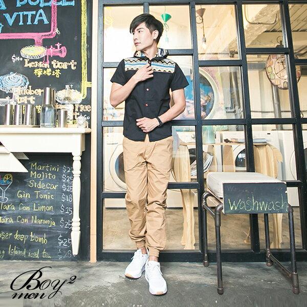 ☆BOY-2☆ 【PPK83023】短袖襯衫連帽潮流拼接民俗風休閒襯衫 4