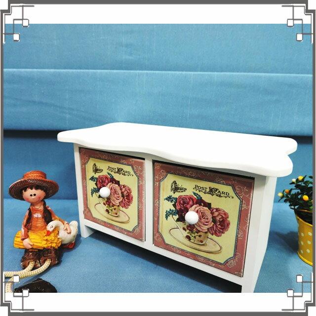 ↙8折↘洗白浪型二抽櫃《2W8》鄉村玫瑰桌上型二抽櫃 收納櫃 飾品珠寶盒 居家布置◤彩虹森林◥