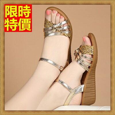 楔型涼鞋厚底涼鞋 ~波希米亞編織帶 真皮女坡跟涼鞋3色69w7~ ~~米蘭 ~