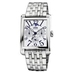 ORIS 豪利時 Rectangular 月相經典機械錶 0158176584061-0782382 銀 33mm
