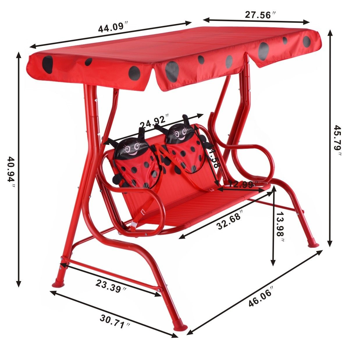 Costway Kids Patio Swing Chair Children Porch Bench Canopy 2 Person Yard  Furniture Red 2