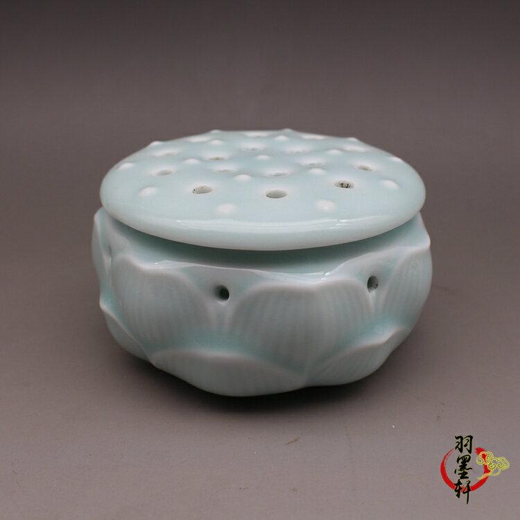 宋 龍泉窯 天青釉刻花香薰 蓋罐 古董古玩仿古陶瓷器收藏手工擺件