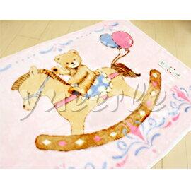 【悅兒樂婦幼用品舘】日本西川 木馬熊發熱中童毯100x140cm (粉色)