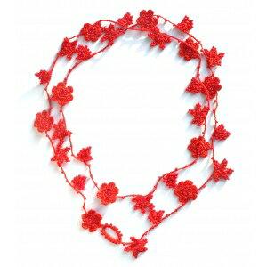 『法國原裝』獨家代理 - 100% 純手鉤限量紅色花朵長項鏈 0