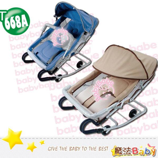 魔法Baby~台灣製造雙管加寬彈搖椅(含蚊帳) 藍.卡其兩款~嬰幼兒用品~t668a