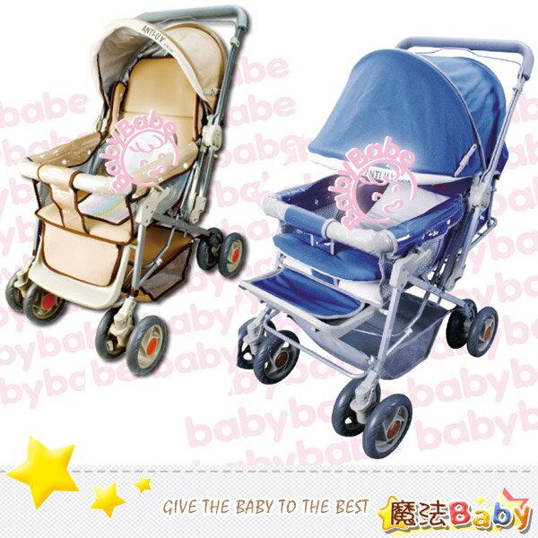 魔法Baby~台灣製造雙向加寬手推車(卡其.藍兩款)~嬰幼兒用品~tb318