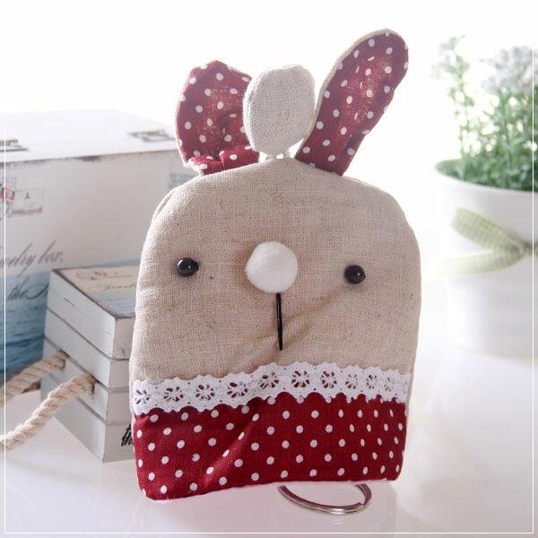 魔法Baby~日本風手工拼布鑰匙&零錢包(紅圓點)~孩童&大人用品~時尚設計~f0052