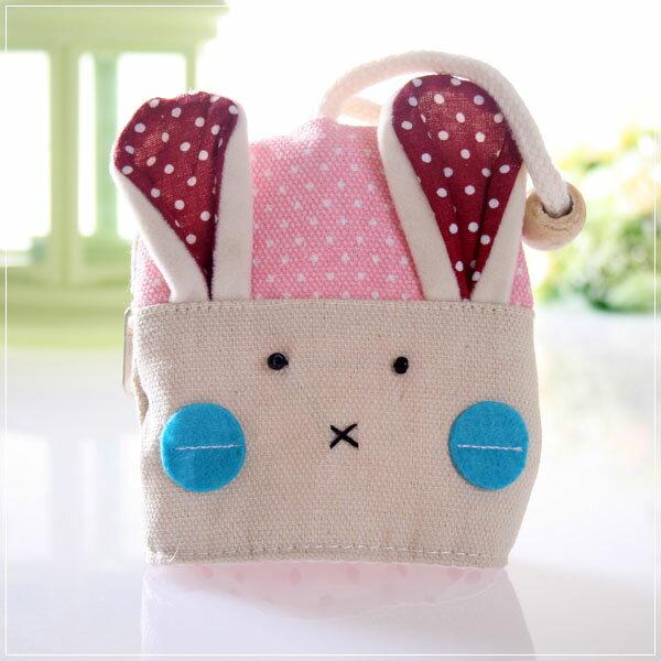 魔法Baby~日本風手工拼布鑰匙&零錢包(紅點兔)~孩童&大人用品~時尚設計~f0058