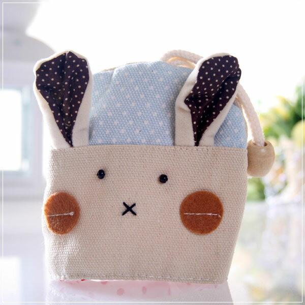 魔法Baby~日本風手工拼布鑰匙&零錢包(藍點兔)~孩童&大人用品~時尚設計~f0059