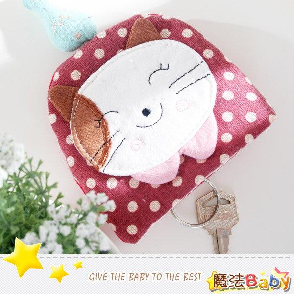 魔法Baby~日本風手工拼布鑰匙&零錢包(酒窩貓)~雜貨小品~時尚設計~f0087