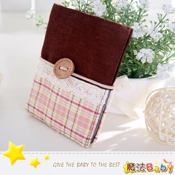 魔法Baby~手工拼布卡片存放包(粉格紋/蕾絲)~生活雜貨~時尚設計~f0094