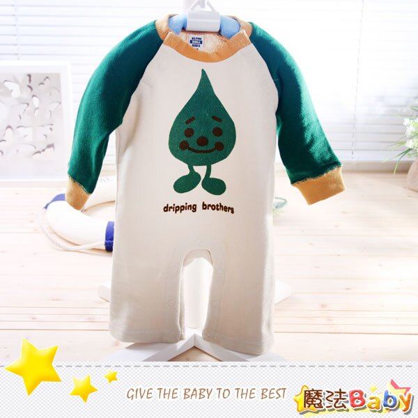 魔法Baby~秋冬厚內著-水滴寶寶連身衣(綠/亞麻米)~包屁衣/連身衣~男童裝~時尚設計童裝~k00101_g