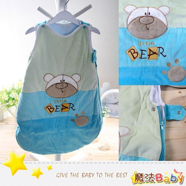 魔法Baby~厚款鋪棉寶寶防踢睡袋(藍/綠/熊)~嬰幼兒用品~時尚設計~k00927_b