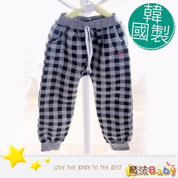 魔法Baby~韓國製造加厚刷毛裡格紋長褲~童裝~男女童裝~時尚設計童裝~k04406
