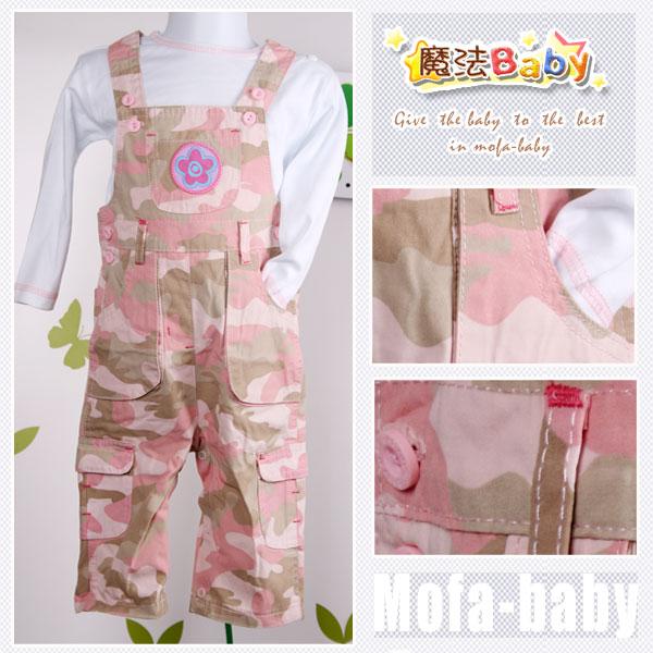 魔法Baby~花徽章迷彩吊帶褲套裝~套裝~女童裝~時尚設計童裝~k04543