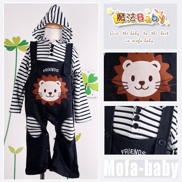 魔法Baby~日系條紋吊帶褲套裝(獅子)~套裝~男童裝~時尚設計童裝~k04604