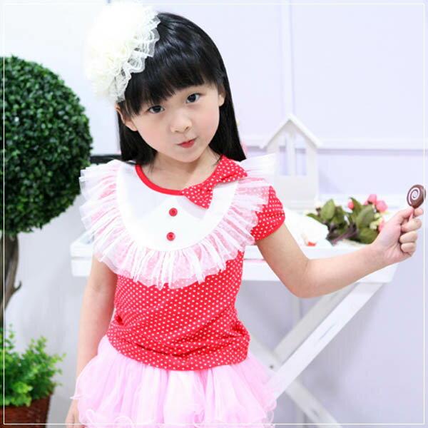 魔法Baby ~甜美系公主裝蕾絲蝴蝶結上衣(紅)~童裝~女童裝~時尚設計童裝~k20199