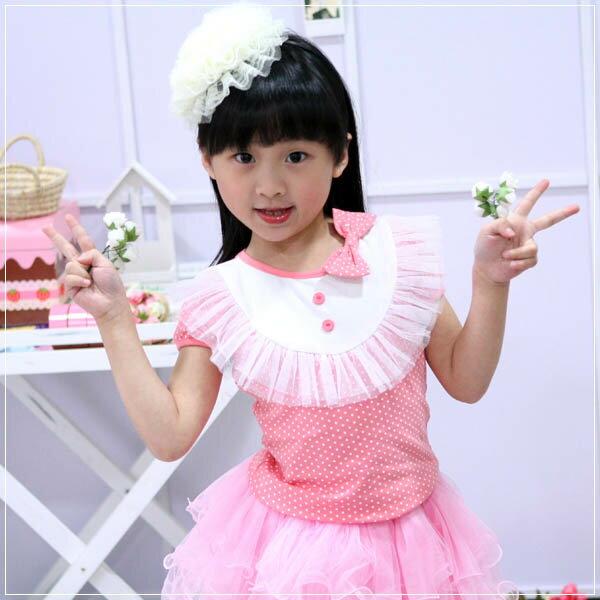魔法Baby ~甜美系公主裝蕾絲蝴蝶結上衣(粉紅)~童裝~女童裝~時尚設計童裝~k20205