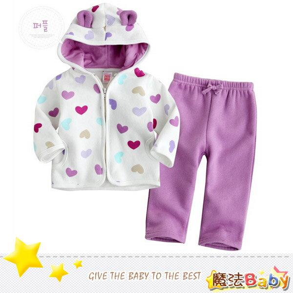 魔法Baby ~厚刷毛耳朵造型連帽外套款套裝(白外套/紫長褲)~套裝~女童裝~時尚設計童裝~k24586