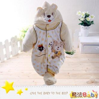 魔法Baby~加厚鋪棉寶寶足球熊連身衣/包屁衣~男女童裝~時尚設計童裝~k24715
