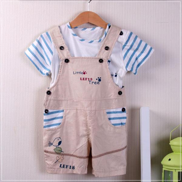 魔法Baby ~百貨專櫃正品 ~活力男孩吊帶式套裝(水藍)~童裝~男童裝~時尚設計童裝~k20465