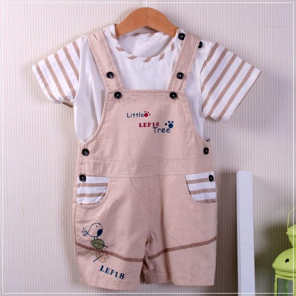 魔法Baby ~百貨專櫃正品 ~活力男孩吊帶式套裝(卡其)~童裝~男童裝~時尚設計童裝~k20472