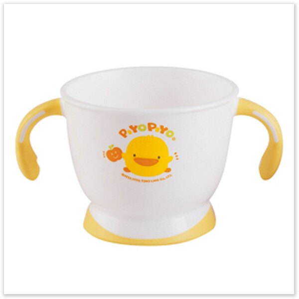 ★ 魔法Baby ★【黃色小鴨嬰幼兒可微波雙色防滑雙耳杯☆離乳用品☆y63098】