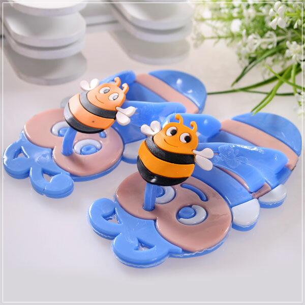 魔法Baby ~KUKI 酷奇可愛蜜蜂造型俏皮系脫鞋(藍)~男童鞋~s5867
