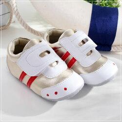 魔法Baby ~KUKI 酷奇流線橫條休閒系童鞋(白/金)~男童鞋~時尚設計童鞋~sh0521
