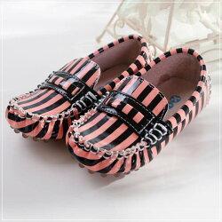 魔法Baby ~KUKI 酷奇俏皮斑馬條紋質感系童鞋(粉黑條紋)~男女童鞋~時尚設計童鞋~sh0552